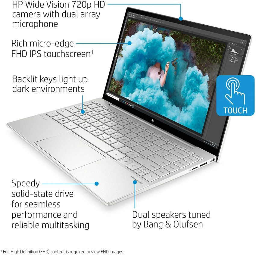 HP Envy 13 Laptop, Intel Core i7-1165G7, 8 GB DDR4 RAM, 256 GB SSD Storage, 13.3-inch FHD Touchscreen Display, Windows 10 Home with Fingerprint Reader, Camera Kill Switch (13-ba1010nr, 2020 Model) Operating System Windows 10 Home Human Interface Input Touchscreen Hardware Interface DisplayPort, USB 3.0 Type C, Headphone, 802.11 ac/b/g/n, Bluetooth 5 Brand HP Hard Disk Description Flash Memory Solid State About this item READY WHENEVER INSPIRATION STRIKES: Create anytime, anywhere with a battery that lasts as long as your day does. Advanced privacy features let you keep your creations secure until you're ready to share them UNHACKABLE SECURITY FOR YOUR PEACE OF MIND: State-of-the-art security features include an unhackable camera shutter, microphone mute button and integrated fingerprint reader BIOS RECOVERY AND PROTECTION: Automatically checks the health of your PC, protects against unauthorized access, secures local storage and recovers itself from boot-up issues BRING YOUR VISIONS TO LIFE WITH SUPER-FAST PROCESSOR: Intel(R) Evo(TM) platform powered by 11th Generation Intel(R) Core(TM) i7-1165G7 Processor, Quad-Core, up to 4.7 GHz with Intel(R) Turbo Boost Technology INTUITIVE TOUCHSCREEN DISPLAY: 13.3-inch diagonal, Full HD (1920 x 1080), multitouch-enabled, IPS, edge-to-edge glass, micro-edge, BrightView; 88% screen to body ratio HIGHER BANDWIDTH MEMORY & FAST BOOTUP WITH SOLID-STATE DRIVE: Boot up in seconds, transfer files without waiting hours, and enjoy a speedier laptop experience with the internal 256 GB PCIe(R) NVMe(TM) M.2 SSD, and higher bandwidth, speed and efficiency with 8 GB DDR4-2933 SDRAM (not upgradable) BATTERY LIFE: Up to 13 hours (mixed usage), up to 16 hours and 45 minutes (video playback), up to 11 hours and 30 minutes (wireless streaming); 0 to 50% charge in 30 minutes with HP Fast Charge THIN, LIGHT & ULTRA-PORTABLE (unpackaged): 12.05 inches (W) x 8.35 inches (D) x 0.58 inches (H); 2.88 pounds OPERATING SYSTEM AND WARRANTY: Windows 10 Home